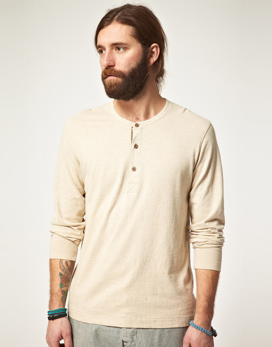 Lyst - Edwin Edwin Henley Long Sleeve Tshirt in Natural for Men