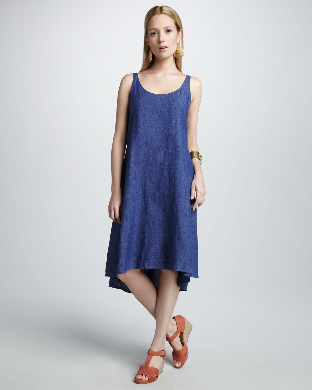 Eileen fisher Linen Dress in Blue | Lyst