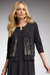Eileen Fisher Sequined Cardigan in Gray (graphite) - Lyst