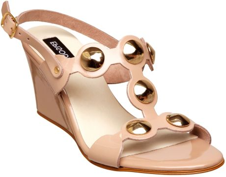 Episode Gothard E Stack Wedge Stud T Bar Sandals in Brown (taupe) - Lyst