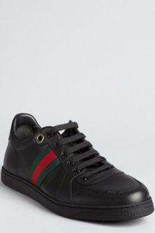Gucci Black Leather Web Striped Sneakers - Lyst