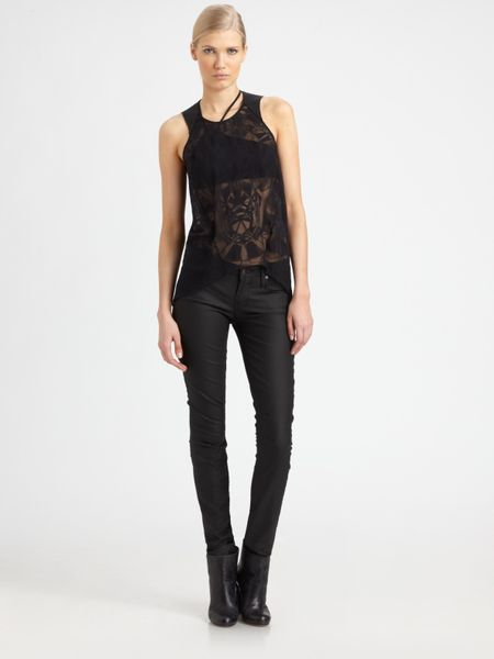 Helmut Lang Spider Burnout Tank Top in Black - Lyst