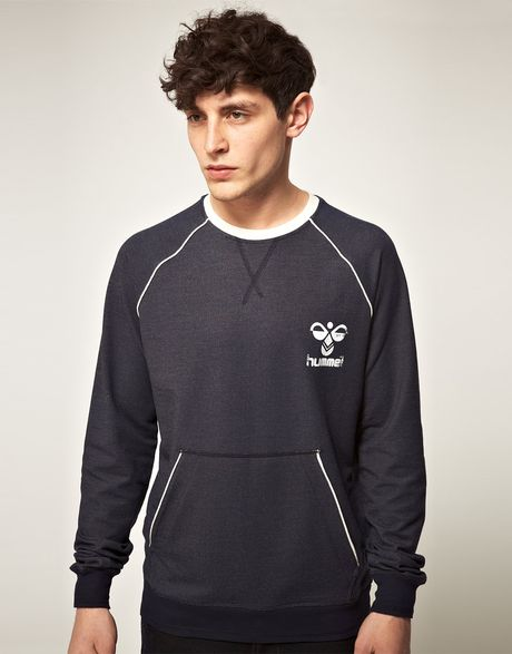 Hummel Hummel Kangaroo Pocket Crew Sweatshirt in Blue for Men (totaleclipseblue)