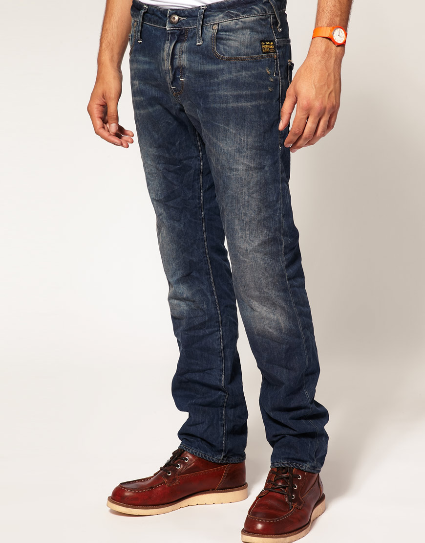 g star raw g star heller low straight jeans in blue for. Black Bedroom Furniture Sets. Home Design Ideas
