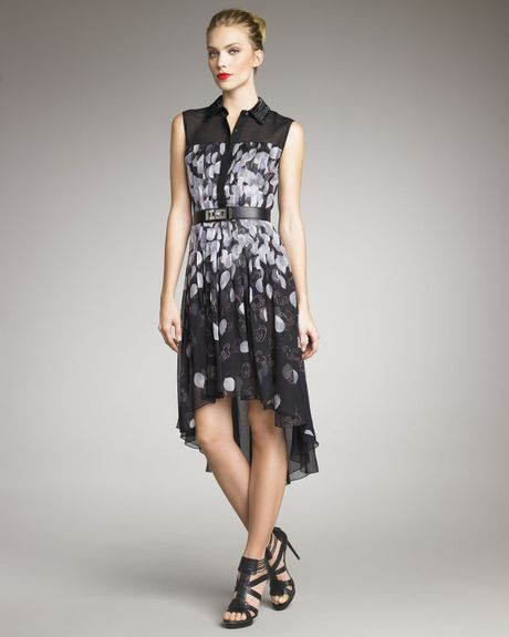 Jason Wu Petal Print Shirt Dress in Black (grey black) - Lyst