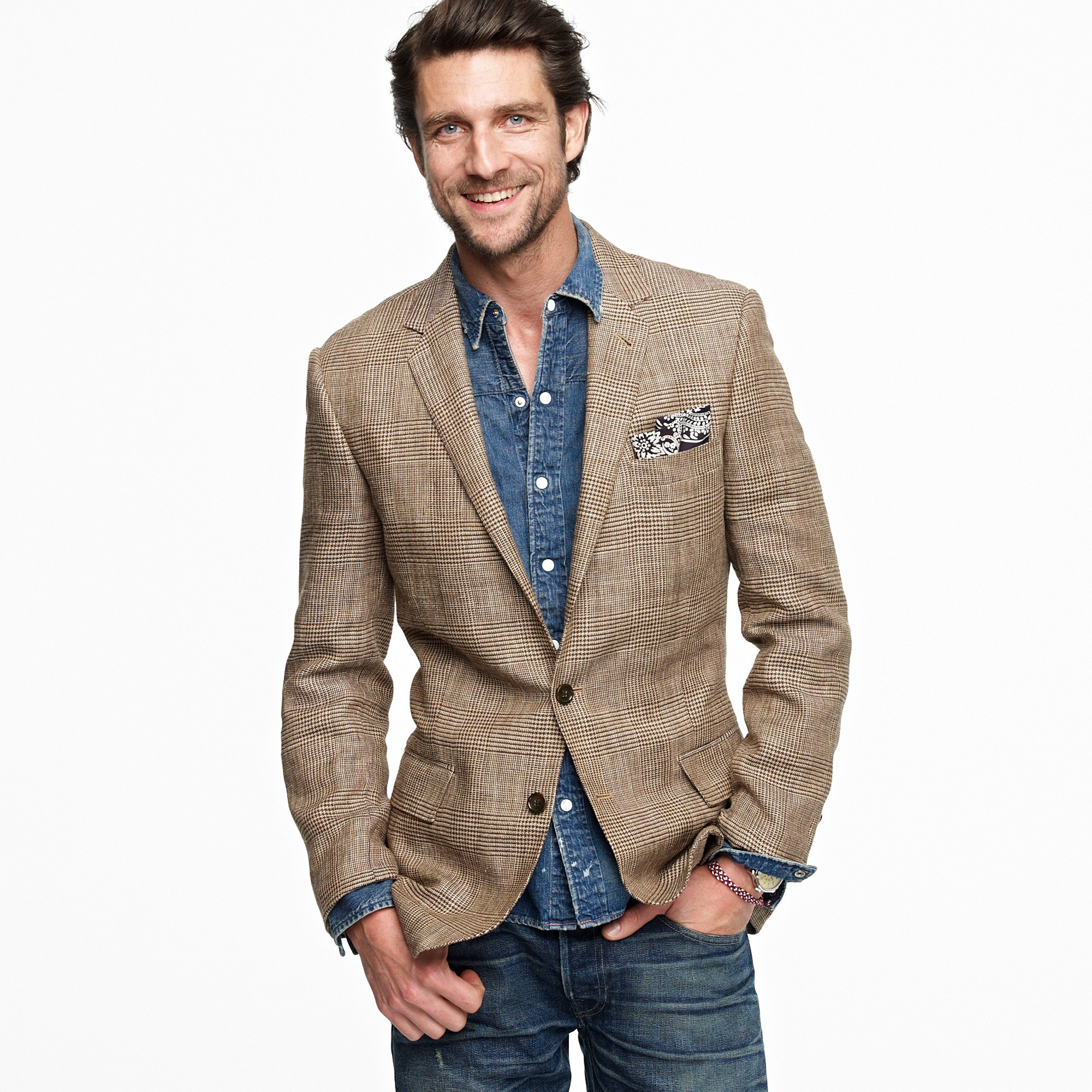 J.crew Glen Plaid Silklinen Sportcoat in Ludlow Fit in Brown for ...