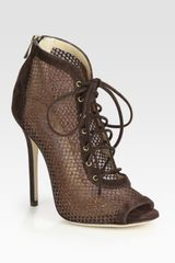 Jimmy Choo Tegan Laceup Suede and Glittercoated Mesh Peep Toe Ankle Boots in Brown - Lyst