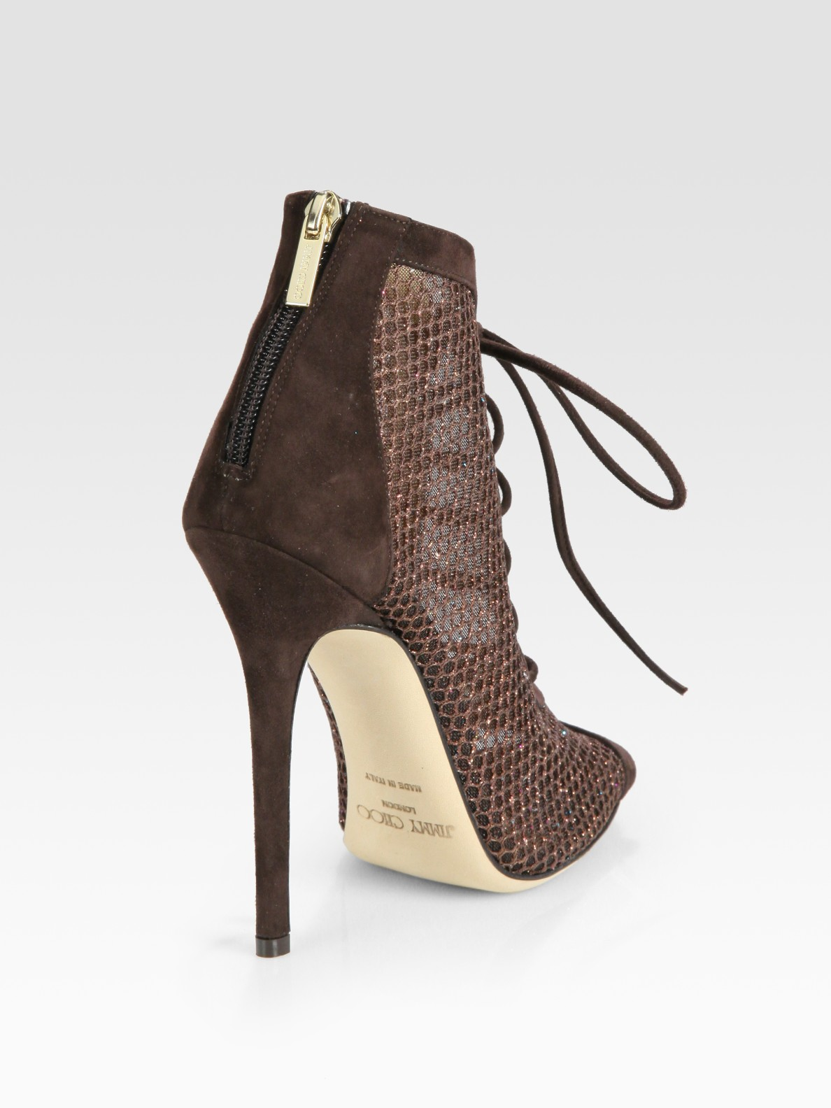 Jimmy Choo Tegan Laceup Suede And Glittercoated Mesh Peep