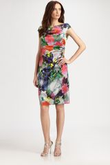 Kay Unger Silk Dress in Multicolor (grey) - Lyst