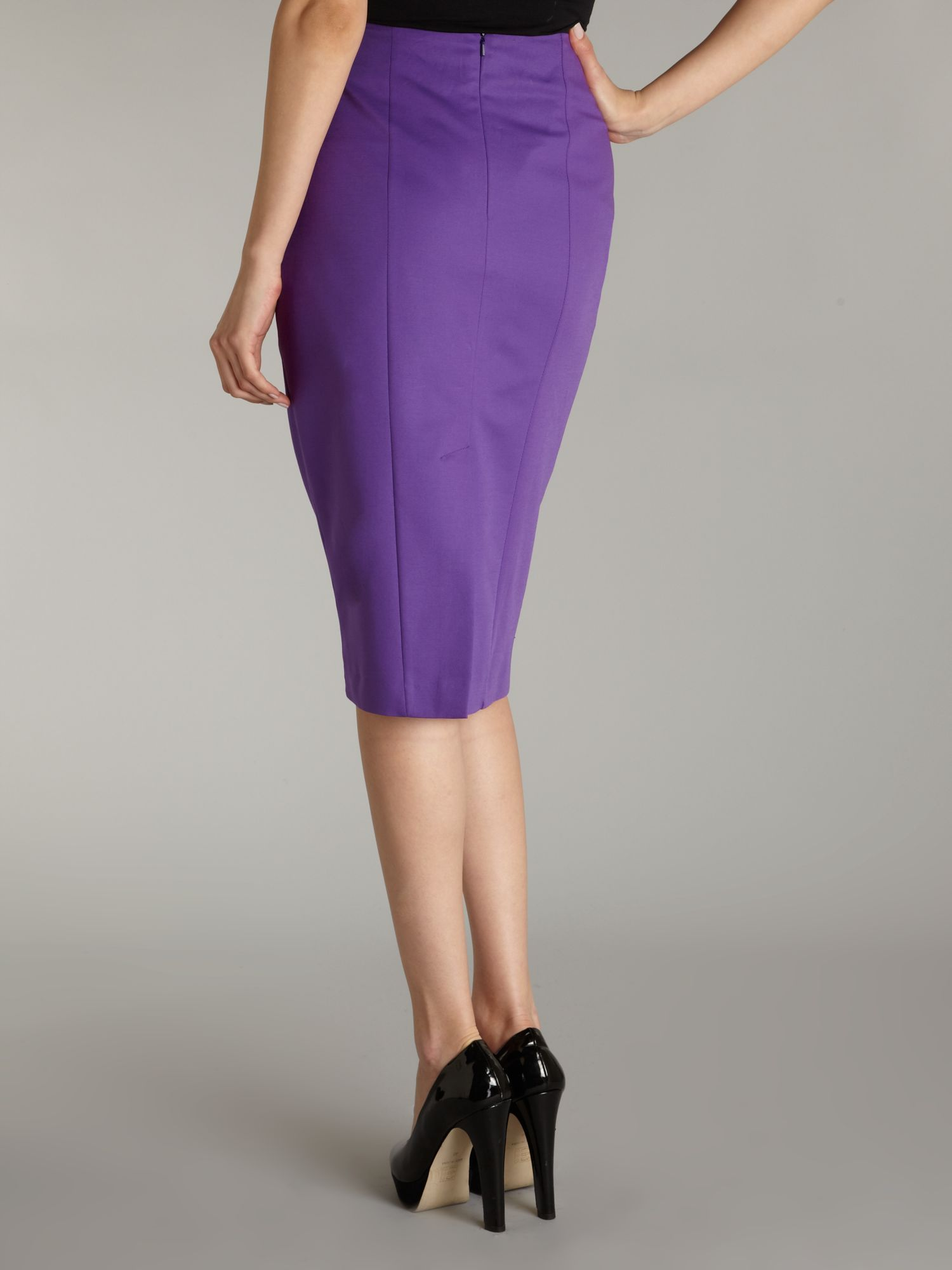 Kenneth cole Midi Pencil Skirt in Purple | Lyst