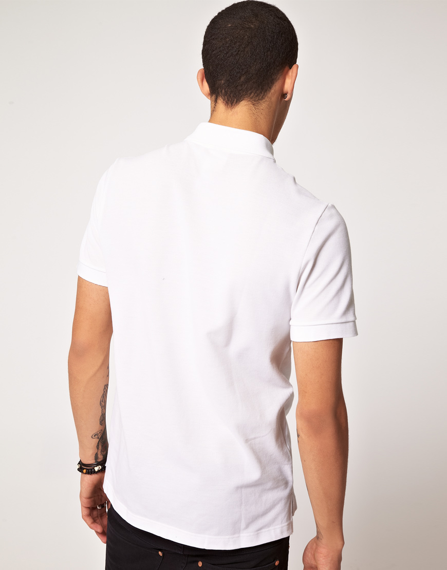 lacoste l ive lacoste live slim fit polo shirt in white. Black Bedroom Furniture Sets. Home Design Ideas