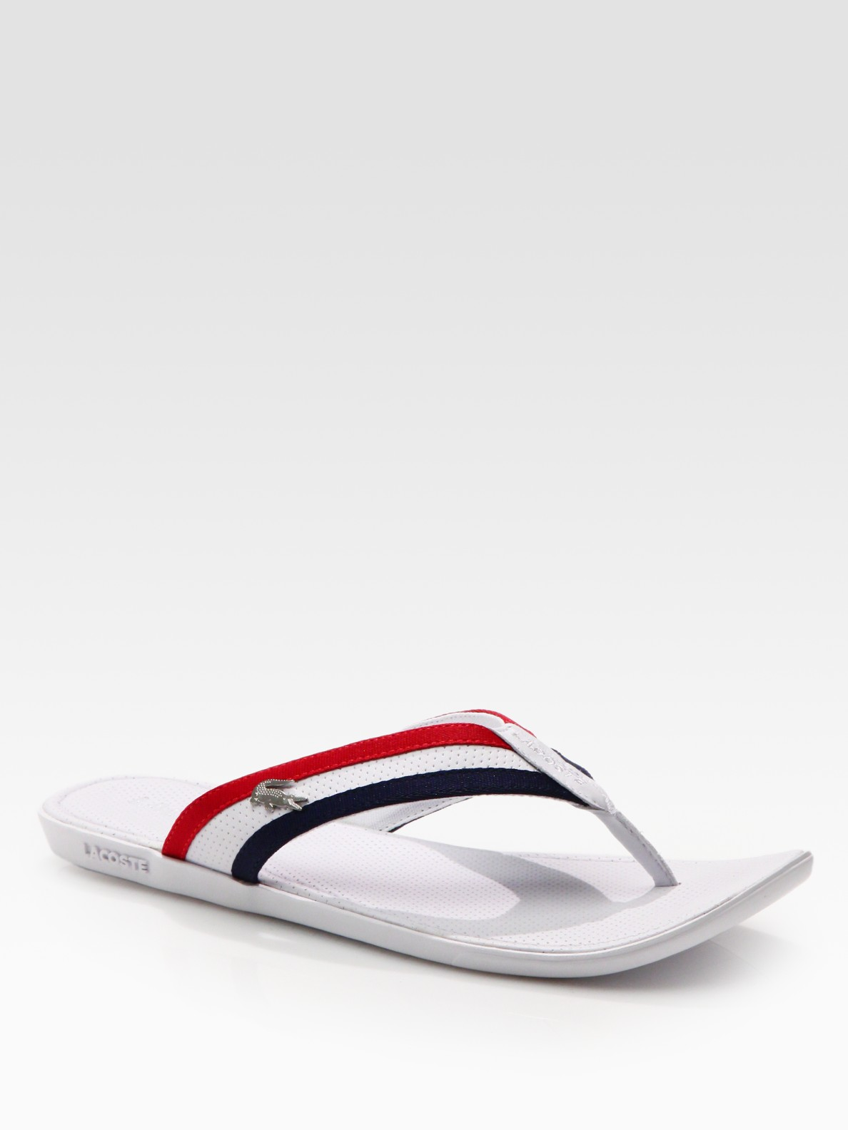 Lyst Lacoste Carros Striped Flip Flop In White For Men