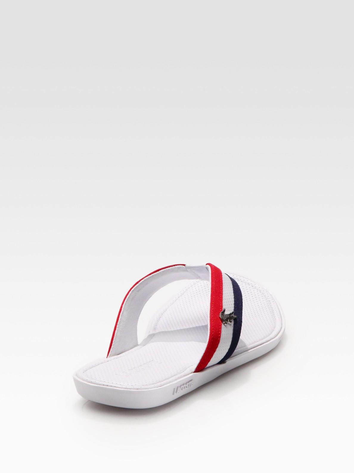 935e89477 Lyst - Lacoste Carros Striped Flip-flop in White for Men