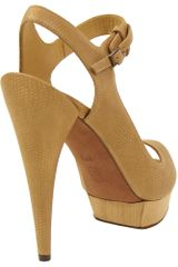 Lanvin Embossed Leather Sandal in Camel in Brown (camel) - Lyst