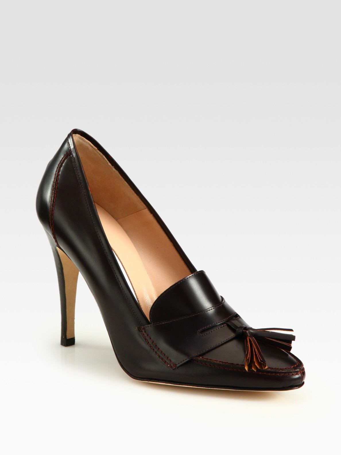 Lyst Manolo Blahnik Leather Loafer Pumps In Brown