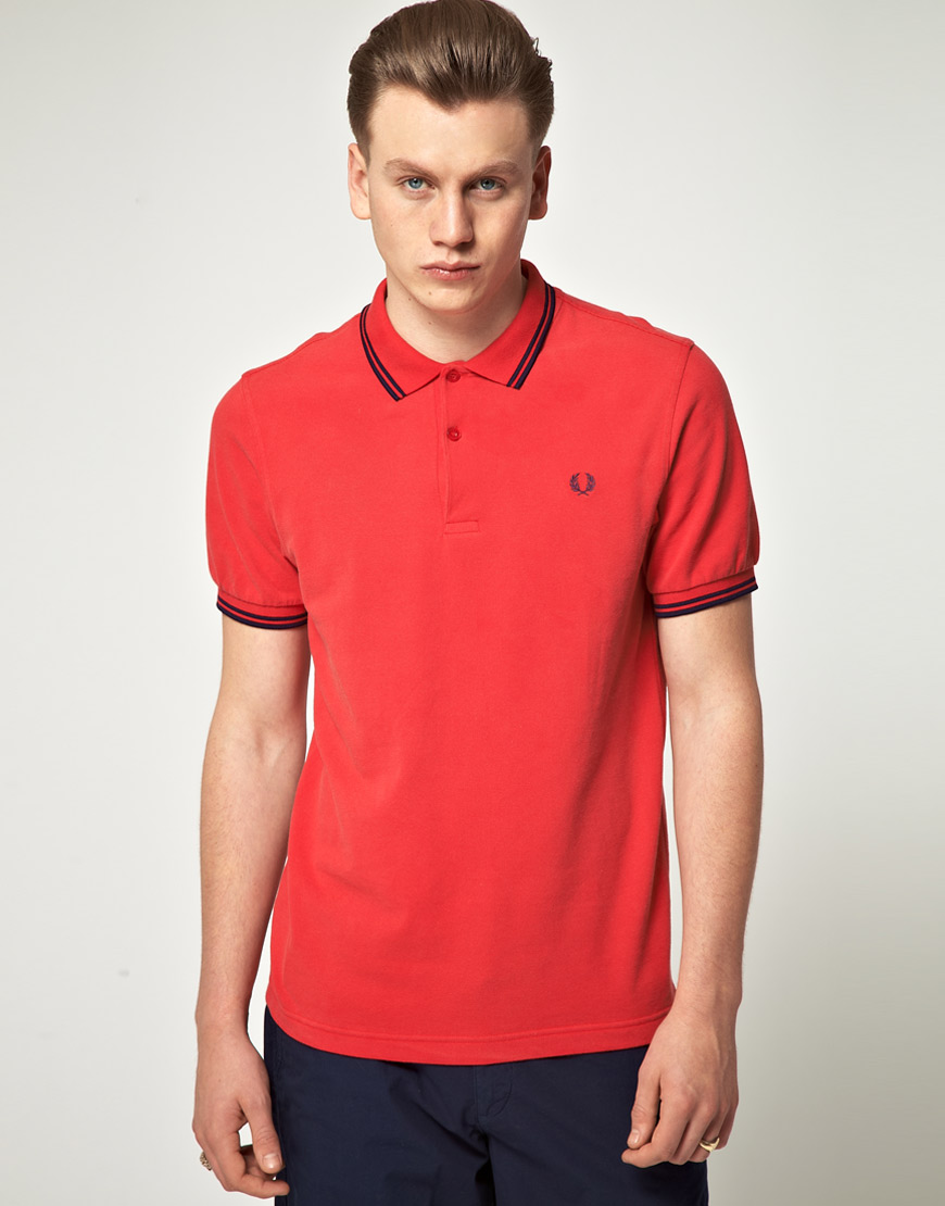 fred perry slim fit twin tipped spray washed polo shirt in red for men lyst. Black Bedroom Furniture Sets. Home Design Ideas
