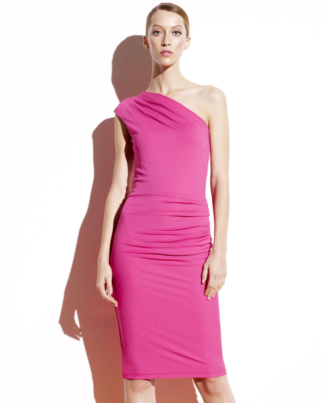 Michael kors Matte Jersey One-shoulder Dress in Pink | Lyst