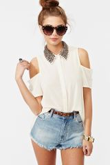 Nasty Gal Total Stud Blouse Cream