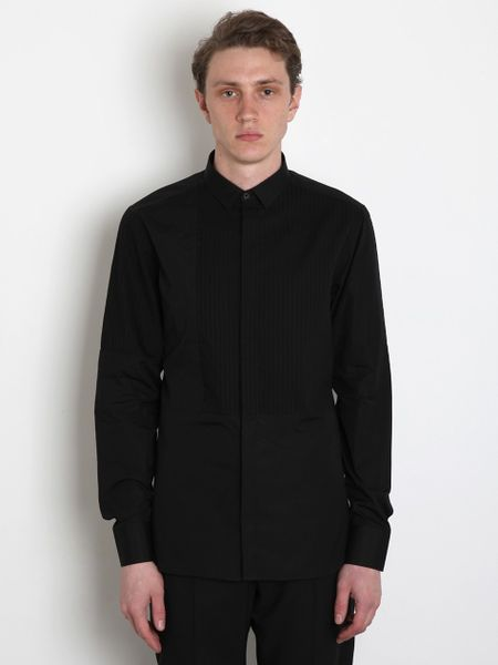 Neil Barrett Slim Fit Pleat Shirt in Black for Men - Lyst