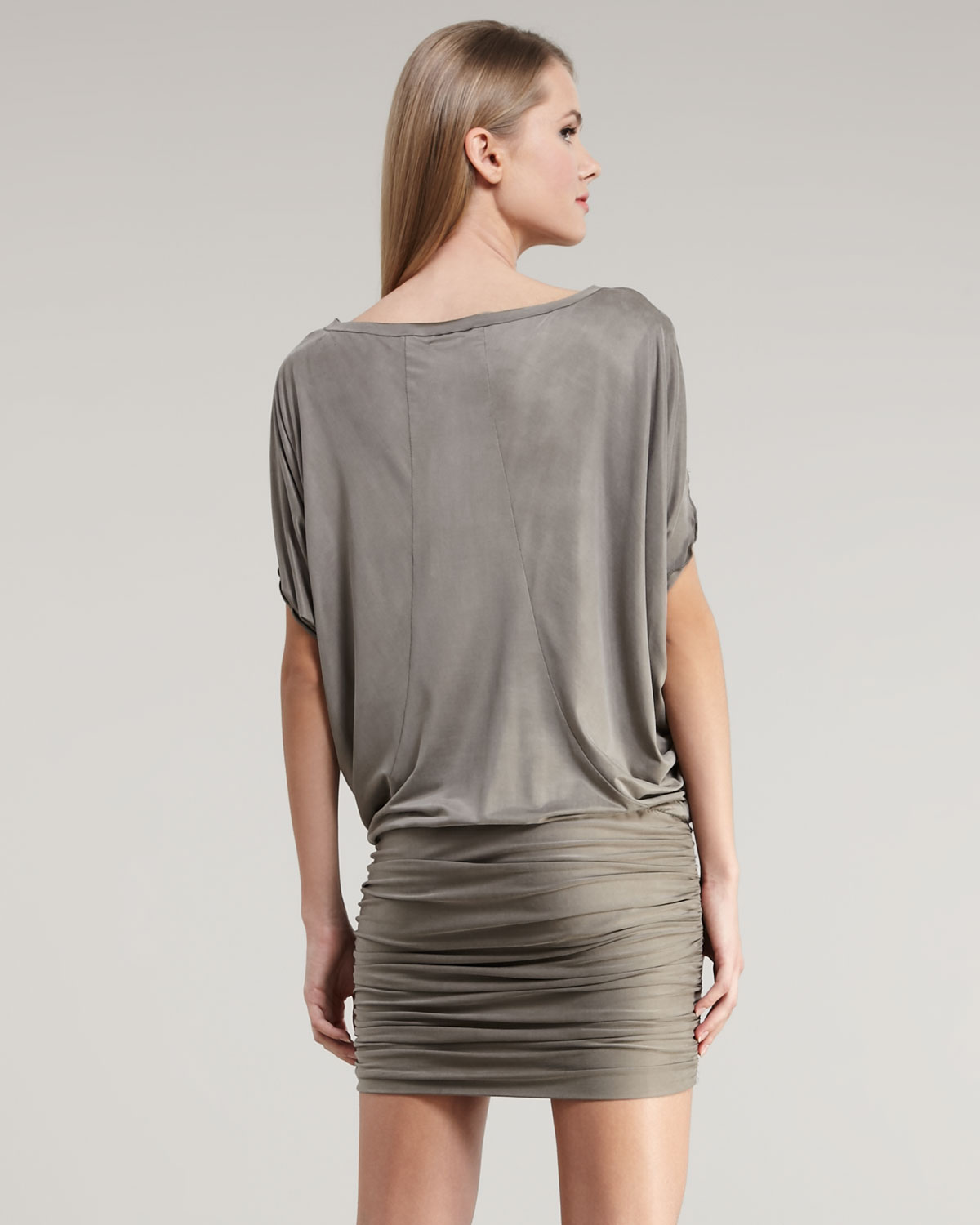 Nicole miller Shortsleeve Jersey Blouson Dress in Gray | Lyst