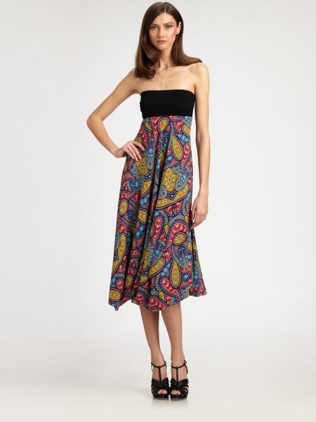 Nicole Miller Strapless Stretch Silk Dress in Multicolor (multi) - Lyst