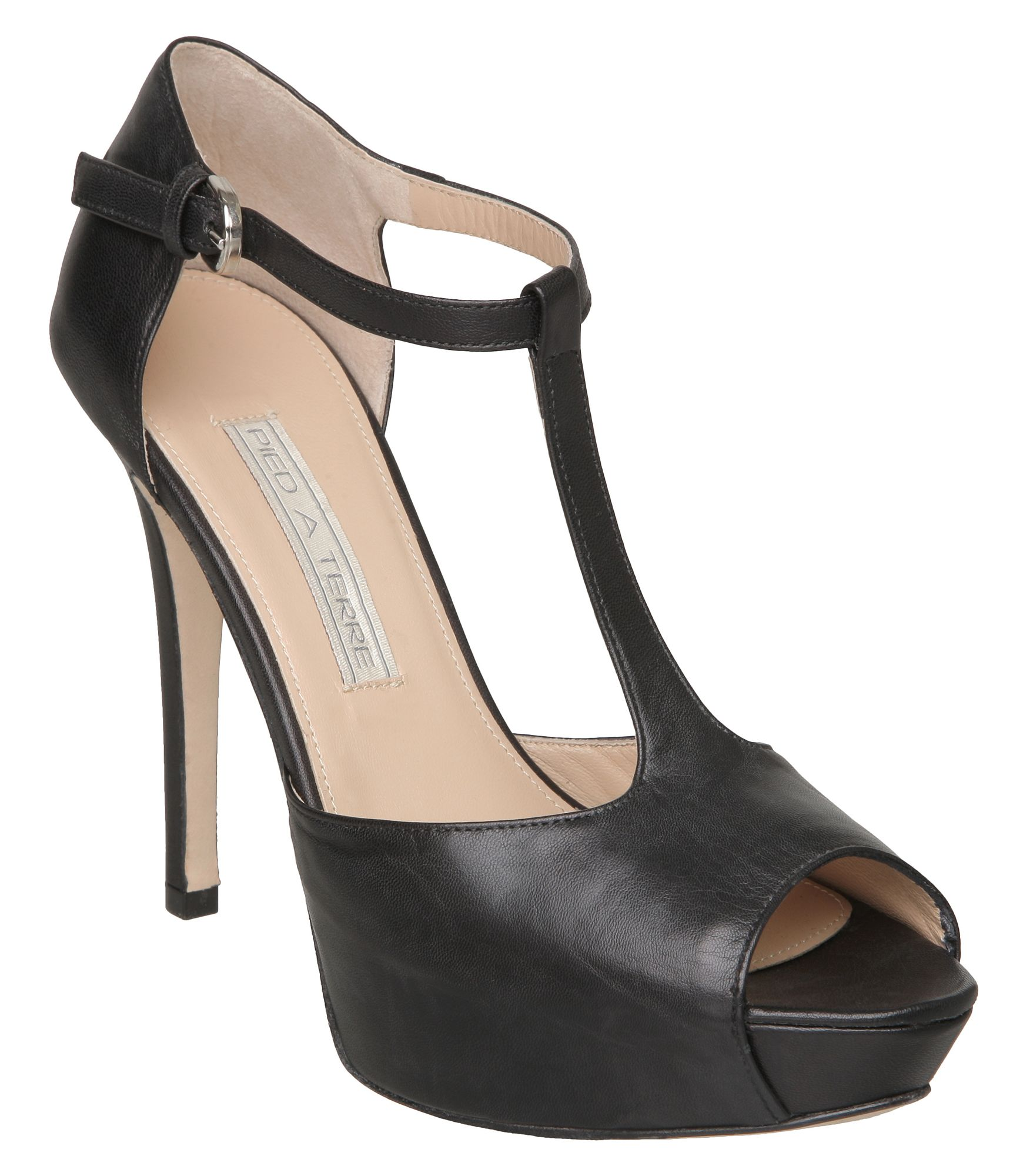 Pied A Terre Abuta T Bar Platform Court Shoes In Black Lyst