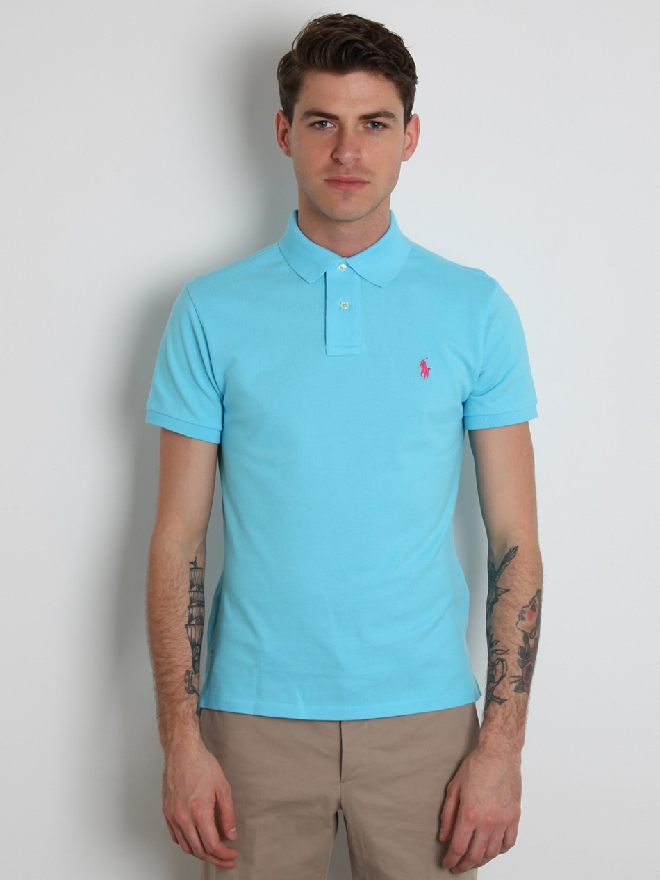 Polo ralph lauren slim fit polo shirt in blue for men for Man in polo shirt