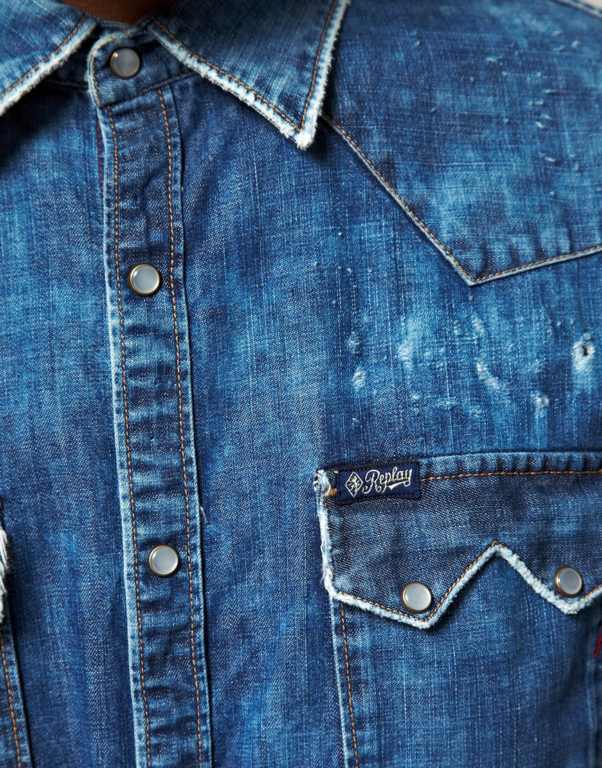Replay Replay Long Sleeve Washed Denim Shirt In Blue For
