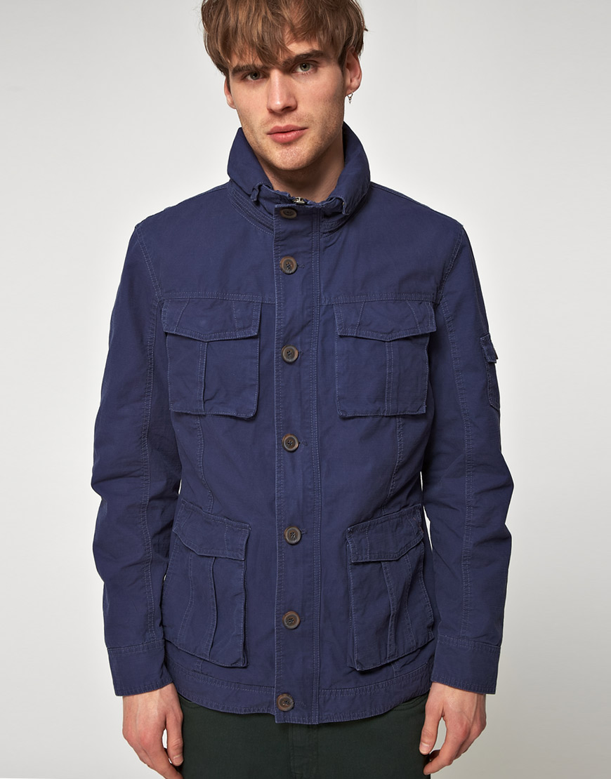River island Blue Army Jacket in Blue for Men | Lyst