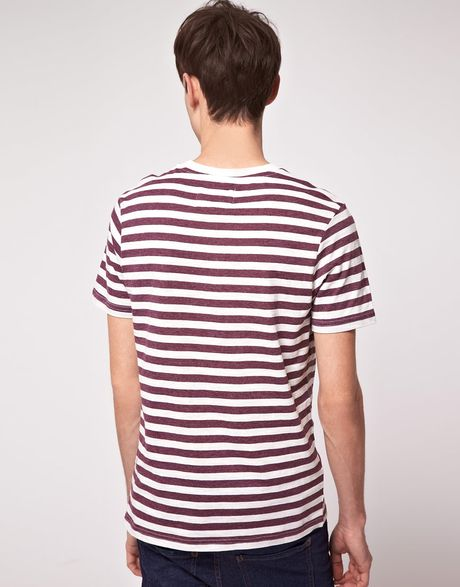 River island wide stripe tee shirt in purple for men lyst for Purple and black striped t shirt