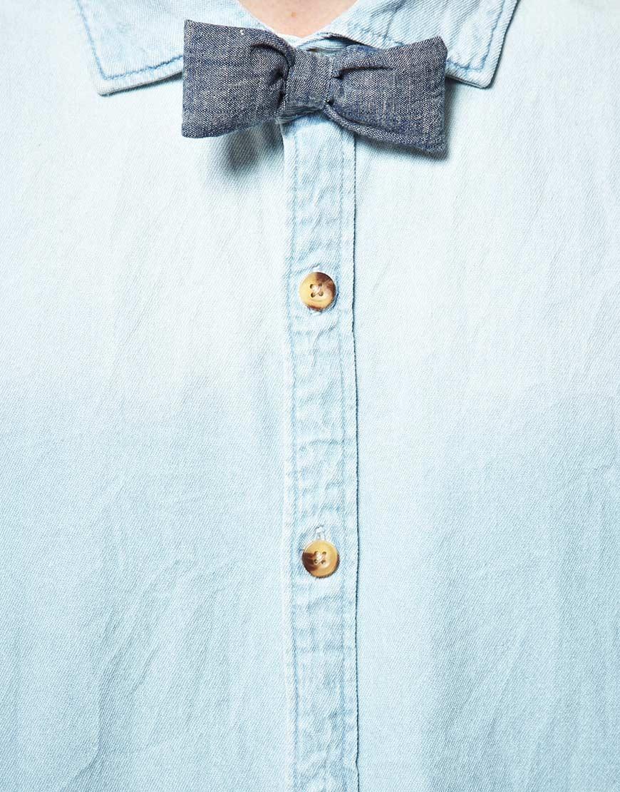 Lyst Scotch Amp Soda Scotch Soda Denim Shirt With Bow Tie