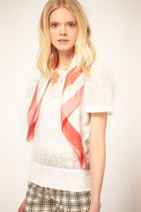 See By Chloé See By Chloe Coral and Cream Scarf - Lyst