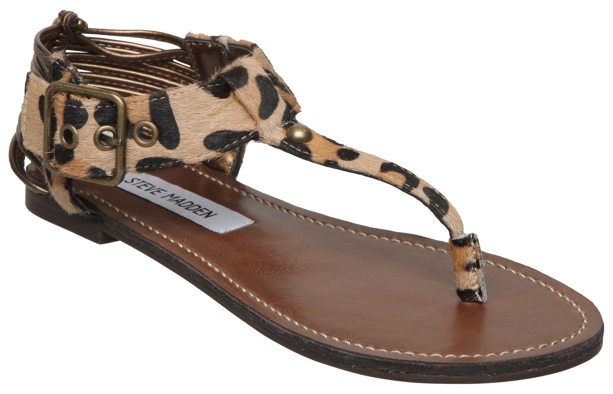 Leopard Print T Strap Flat Sandals