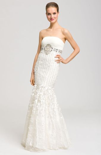 Sue Wong Drop Waist Embellished Mermaid Gown - Lyst