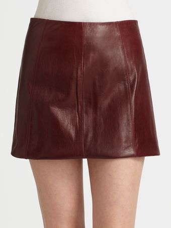 T By Alexander Wang Leather Mini Skirt - Lyst