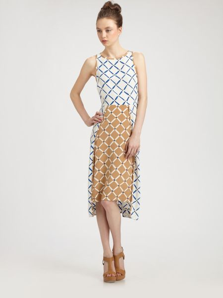 Tibi Silk Crepe de Chine Midi Dress in Beige (multi)