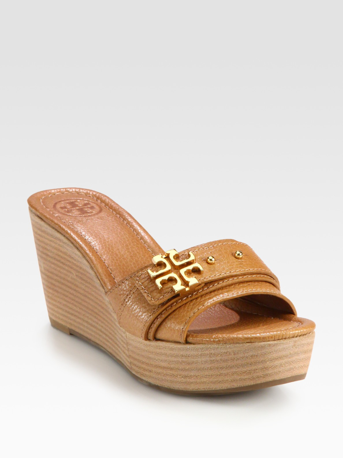 Tory Burch Elina Pebbled Leather Logo Wedge Sandals In