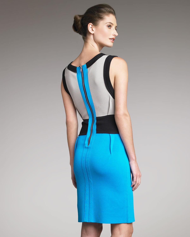 d01223da3f96 Lyst - Yigal Azrouël Colorblock Knit Dress in Blue