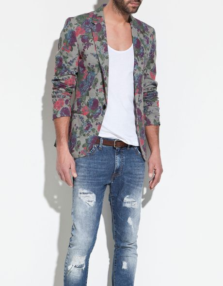 Zara Printed Blazer In Floral For Men Grey Lyst