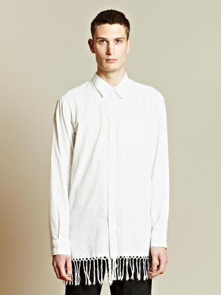 Ann demeulemeester joan fringe shirt in white for men lyst for Mens shirt with tassels