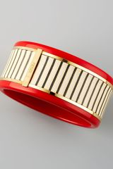 Fendi Resin Leatherstriped Bracelet Red - Lyst