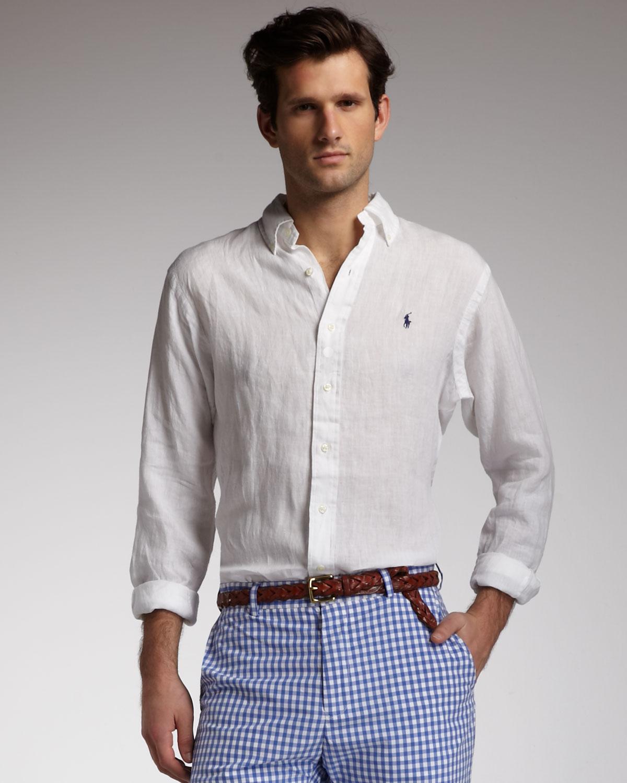 3d14120eee0ffe Lyst - Polo Ralph Lauren Buttondown Linen Shirt White in White for Men