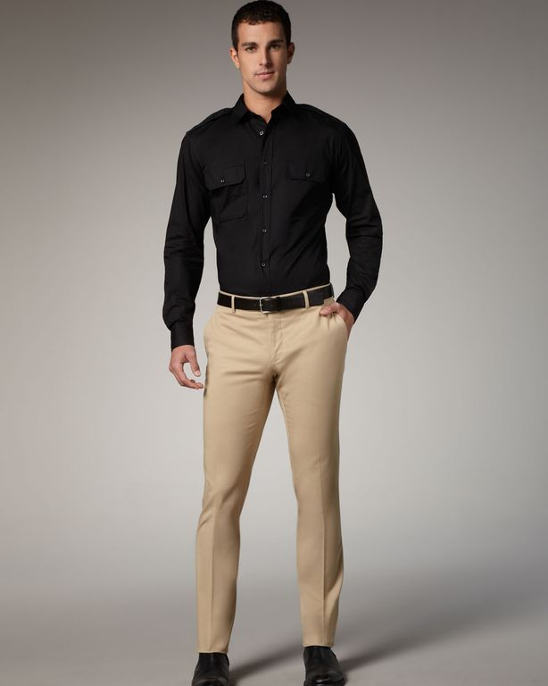 My first outfit I'm considering is a black jacket, almost sky blue shirt, dark red/burgundy tie, and khaki pants. My second outfit I'm wondering what to pair with is black pants, navy blue jacket but not sure what color shirt tie to wear with it.