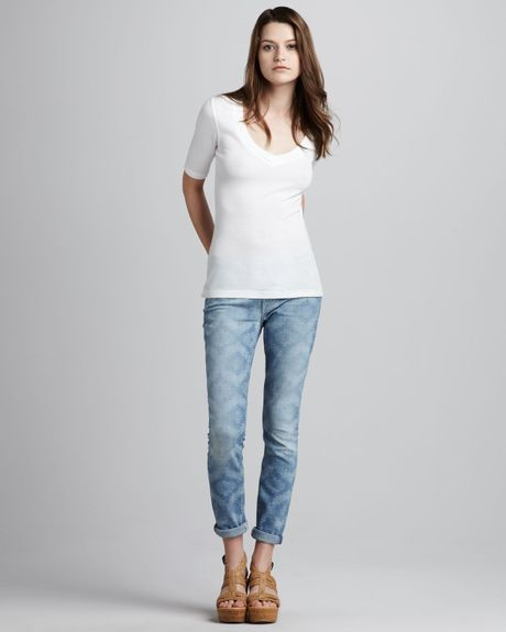 7 For All Mankind The Skinny Rolled Ancient Pyramid Laserprint Jeans in Blue - Lyst