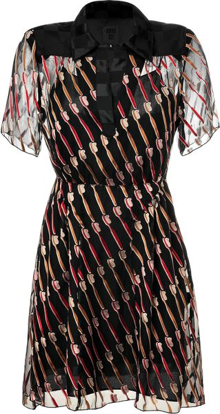 Anna Sui Black Toothbrush Patterned Dress in Multicolor (black) - Lyst