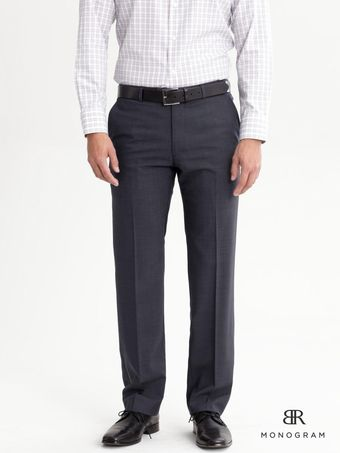 Banana Republic Br Monogram Navy Italian Wool Notched Suit Pant - Lyst