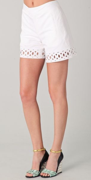 Catherine Malandrino Shorts with Cutouts in White - Lyst