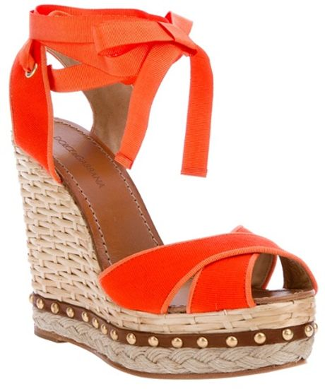Dolce & Gabbana Wedge Sandal in Orange - Lyst