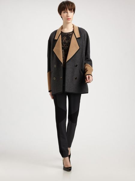 Jason Wu Bicolor Wool Camel Coat in Gray (camel)