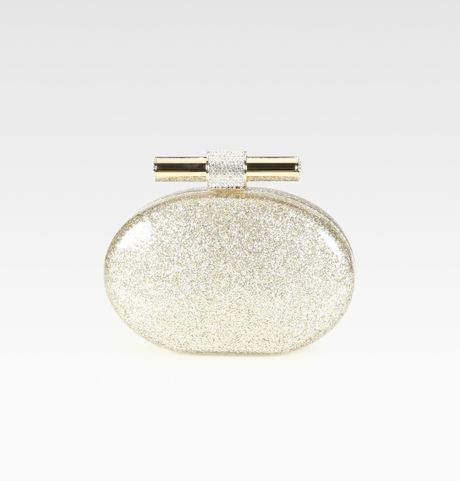 Jimmy Choo Glitter Metallic Clutch in Gold (champagne) - Lyst